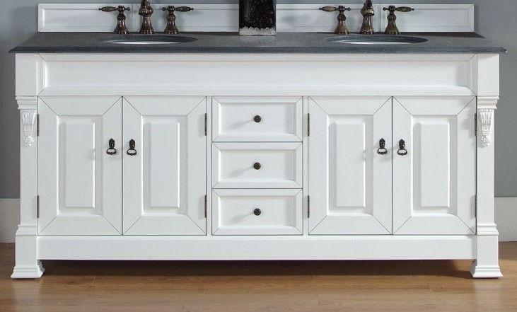 """Brookfield 72"""" Cottage White Double Vanity With 2Cm Black Granite Top"""