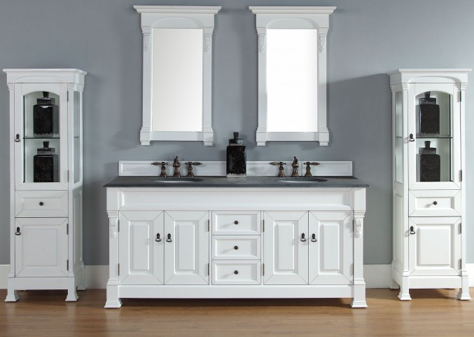 "Brookfield 72"" Cottage White Double 2CM Top Vanity Set"