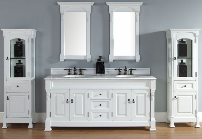 "Brookfield 72"" Cottage White Double Vanity With 2Cm Carerra White Marble Top"