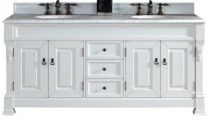 """Brookfield 72"""" Cottage White Double Vanity With 2Cm Carerra White Marble Top"""