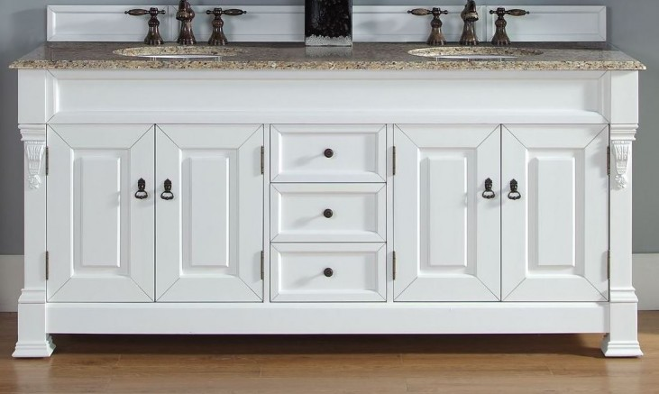 "Brookfield 72"" Cottage White Double Vanity With 2Cm Santa Cecilia Granite Top"