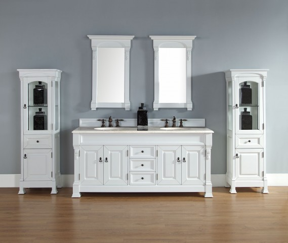 "Brookfield 72"" Cottage White Double Vanity With 2Cm Galala Beige Marble Top"