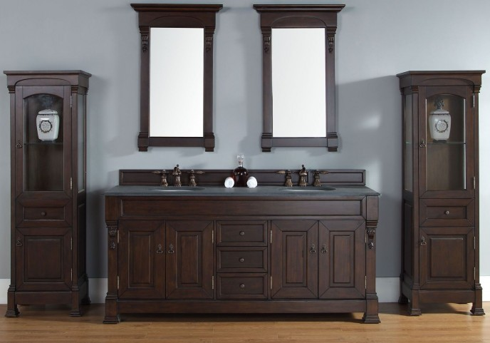 "Brookfield 72"" Burnished Mahogany Double Vanity With 2Cm Black Granite Top"