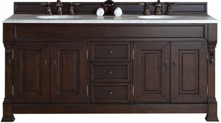 "Brookfield 72"" Burnished Mahogany Double Vanity With 2Cm Carerra White Marble Top"