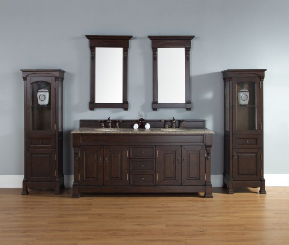 "Brookfield 72"" Burnished Mahogany Double Vanity With 2Cm Santa Cecilia Granite Top"