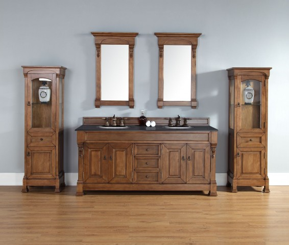 "Brookfield 72"" Country Oak Double Vanity With 2Cm Santa Cecilia Granite Top"