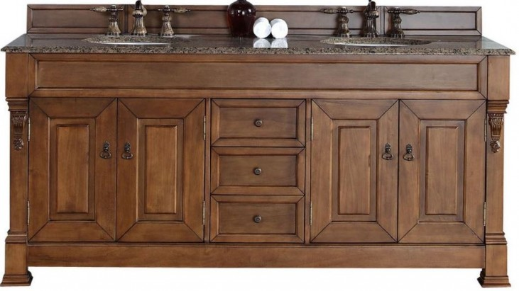 "Brookfield 72"" Country Oak Double Vanity With 2Cm Santa Cecilia Granite Top"