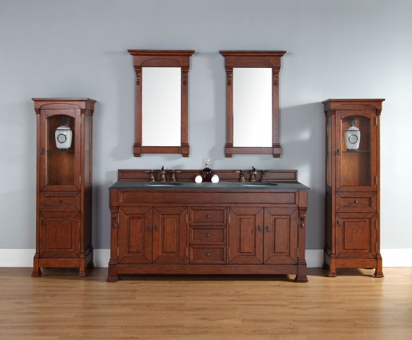 "Brookfield 72"" Warm Cherry Double 2CM Top Vanity Set"