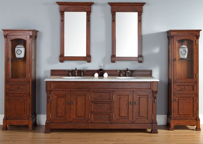 "Brookfield 72"" Warm Cherry Double Vanity With 2Cm Carerra White Marble Top"