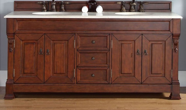 """Brookfield 72"""" Warm Cherry Double Vanity With 2Cm Galala Beige Marble Top"""