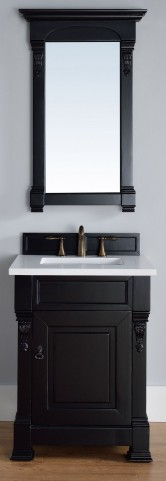 "Brookfield 26"" Antique Black Single Vanity With 3Cm Snow White Quartz Top"