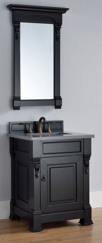 "Brookfield 26"" Antique Black Single Vanity With 3Cm Shadow Gray Quartz Top"