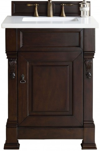 "Brookfield 26"" Burnished Mahogany Single Vanity With 3Cm Snow White Quartz Top"