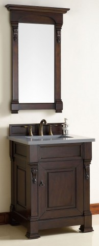 "Brookfield 26"" Burnished Mahogany Single Vanity With 3Cm Shadow Gray Quartz Top"