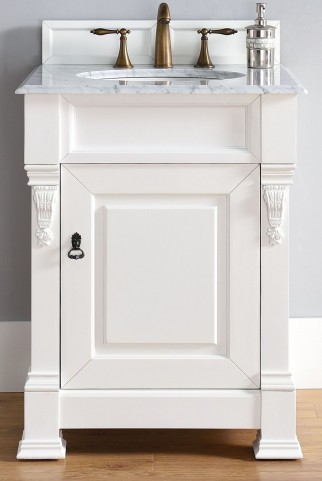 """Brookfield 26"""" Cottage White Single Vanity With 2Cm Carerra White Marble Top"""