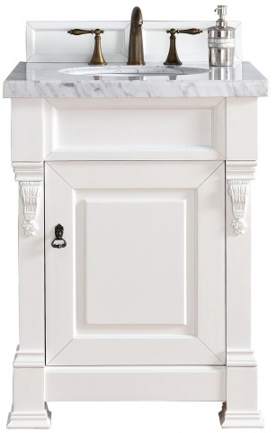 """Brookfield 26"""" Cottage White Single Vanity With 4Cm Carerra White Marble Top"""
