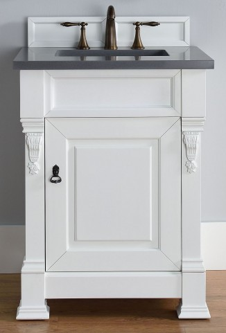 "Brookfield 26"" Cottage White Single Vanity With 3Cm Shadow Gray Quartz Top"