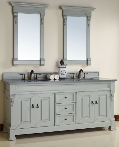 "Brookfield 72"" Urban Gray Double 3CM Top Vanity Set"