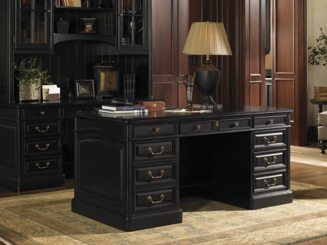 Broadmoor Weathered Black Pedestal Desk
