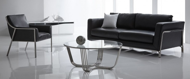 Perch Black Leather Living Room Set