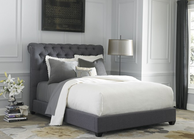Dark Gray Upholstered King Sleigh Bed