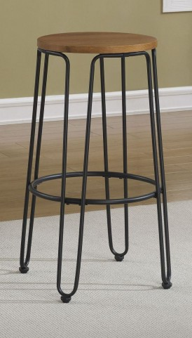 "Golden Oak 30"" Metal Frame Backless Stool"