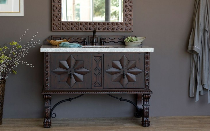 "Balmoral 48"" Antique Walnut Single Vanity With 4Cm Carerra White Marble Top"