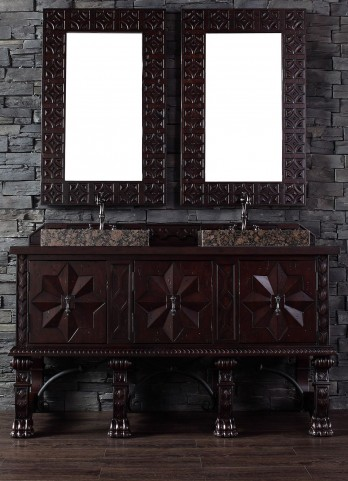"Balmoral 60"" Antique Walnut Single Vanity With 4Cm Black Granite Top"