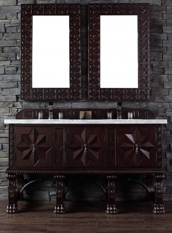 "Balmoral 60"" Antique Walnut Single Vanity With 4Cm Carerra White Marble Top"