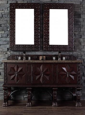 "Balmoral 60"" Antique Walnut Double 4CM Top Vanity Set"