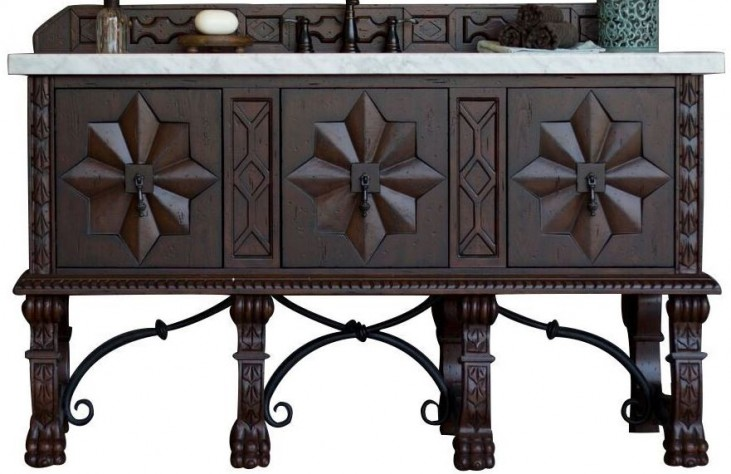 """Balmoral 60"""" Antique Walnut Single Vanity With 4Cm Carerra White Marble Top"""