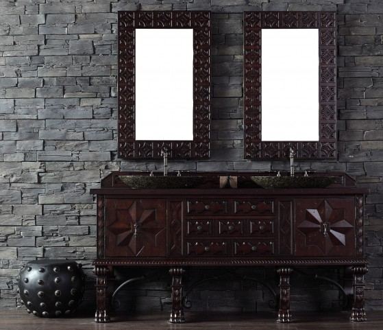 "Balmoral 72"" Antique Walnut Double 4CM Top Vanity Set"