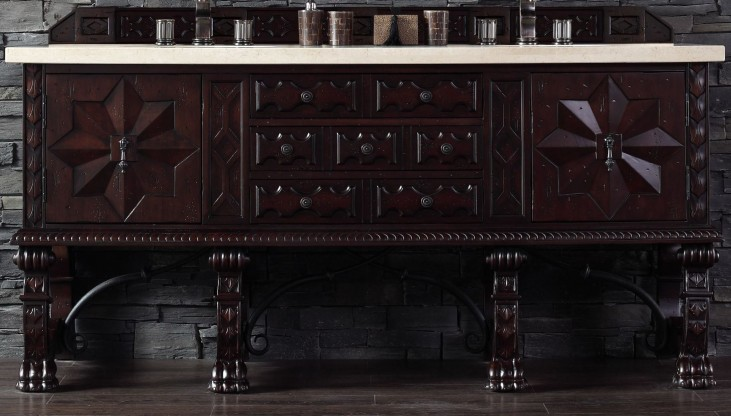 """Balmoral 72"""" Antique Walnut Double Vanity With 4Cm Galala Beige Marble Top"""