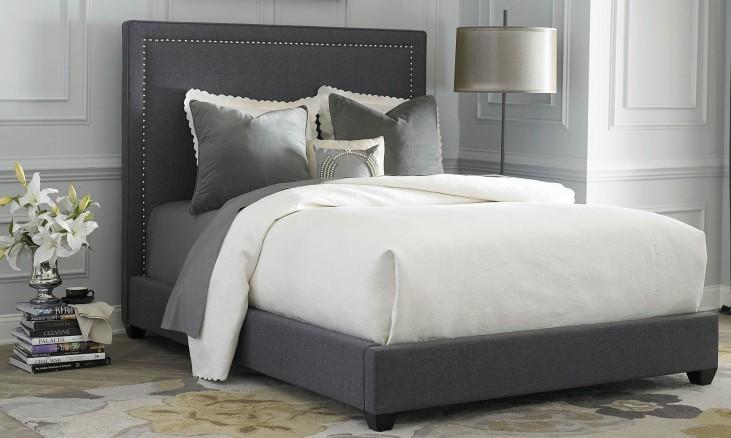 Full Gray Upholstered Panel Bed