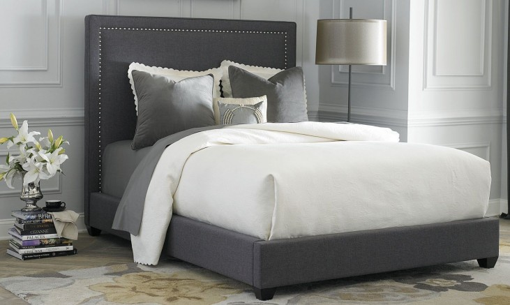 Twin Gray Upholstered Panel Bed