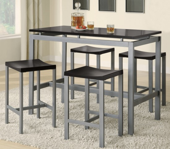 Atlas Silver Metal Counter Height Dinette Set