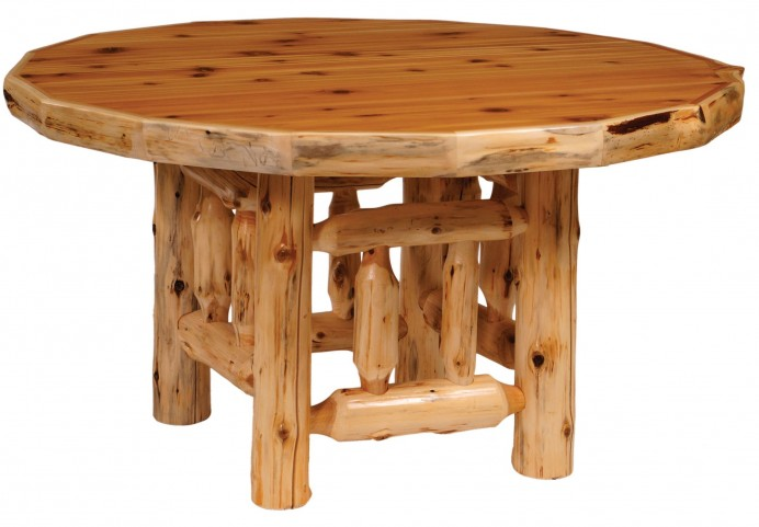 "Cedar 48"" Round Standard Log Dining Table"