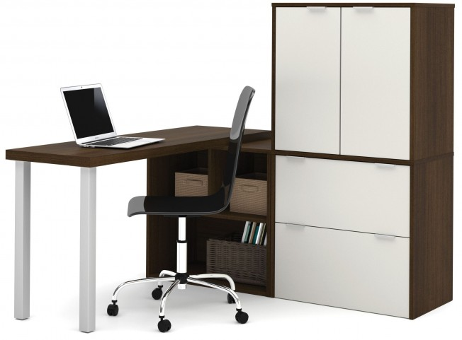150852-78 i3 Tuxedo and Sandstone L-Shaped desk