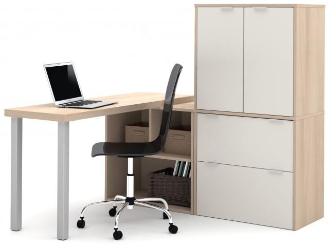 150852-38 i3 Northern Maple and Sandstone Door L-Shaped Desk