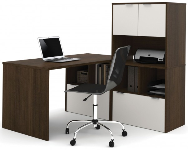 150854-78 i3 Tuxedo and Sandstone L-Shaped desk