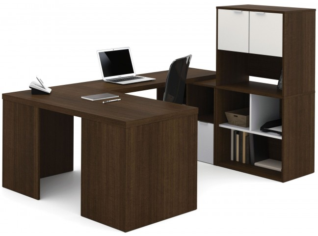 150858-78 i3 Tuxedo and Sandstone U-Shaped desk