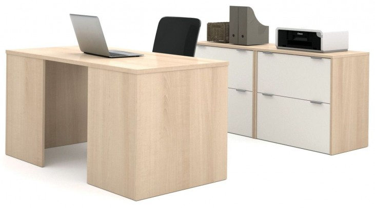 i3 Northern Maple and Sandstone Executive Set with Two Oversized Pedestals