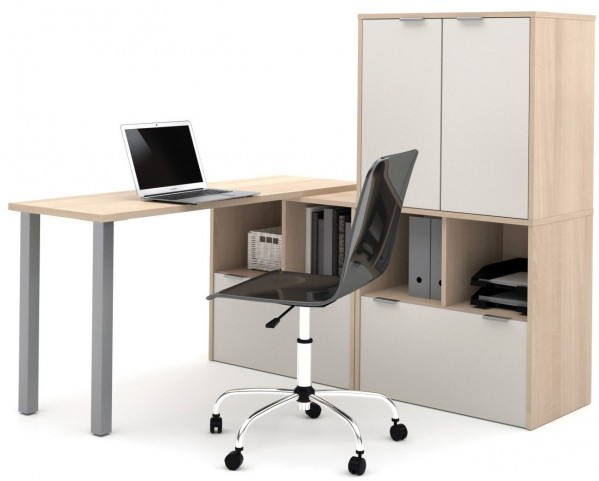 150865-38 i3 Northern Maple and Sandstone L-Shaped Desk