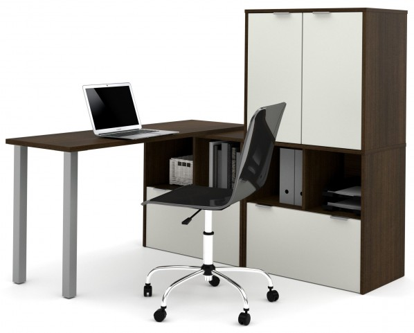 150865-78 i3 Tuxedo and Sandstone L-Shaped desk