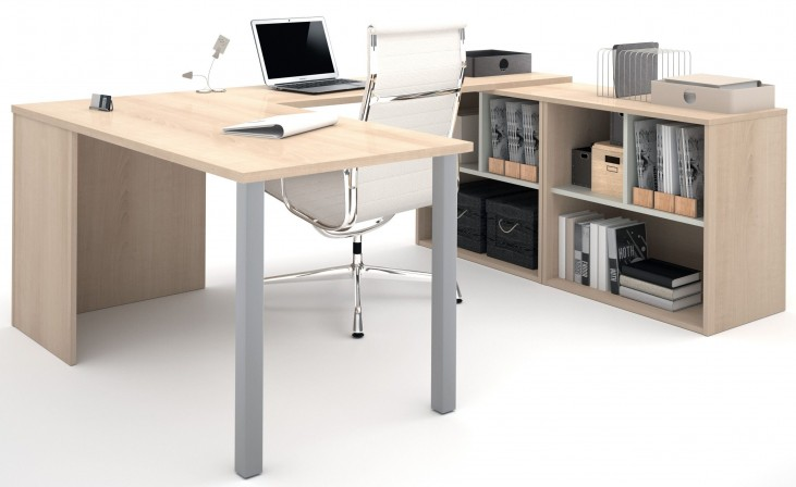 150871-38 i3 Northern Maple and Sandstone U-Shaped Desk