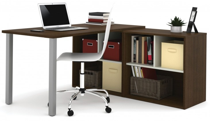 150873-78 i3 Tuxedo and Sandstone L-Shaped desk