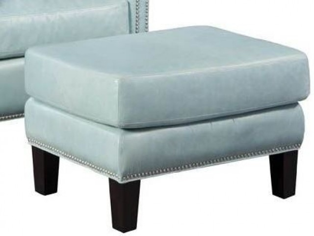 Belle Weston Blue Ice Leather Ottoman