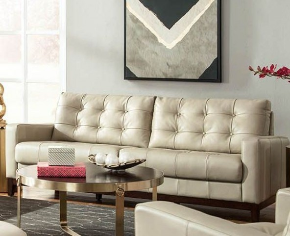 Clayton Taupe Leather Loveseat