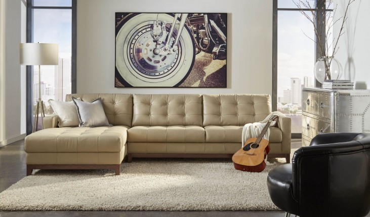 Clayton Taupe Leather LAF Sectional