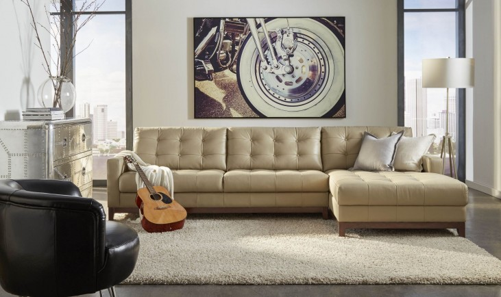 Clayton Taupe Leather RAF Sectional